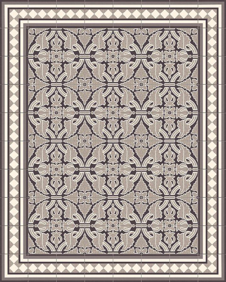 Steinzeugfliesen mit floralem Motiv in schwarz-weiß. Verlegebeispiel.