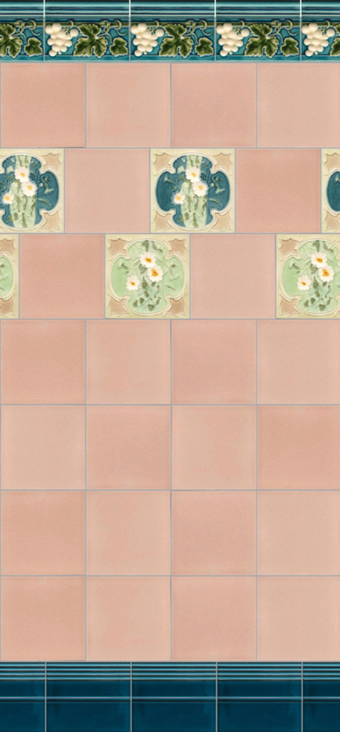 Wall tiles Tiles decorated Verlegebeispiel F 51 V2