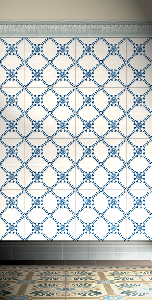 Wall tiles Tiles decorated Verlegebeispiel F 11 V2
