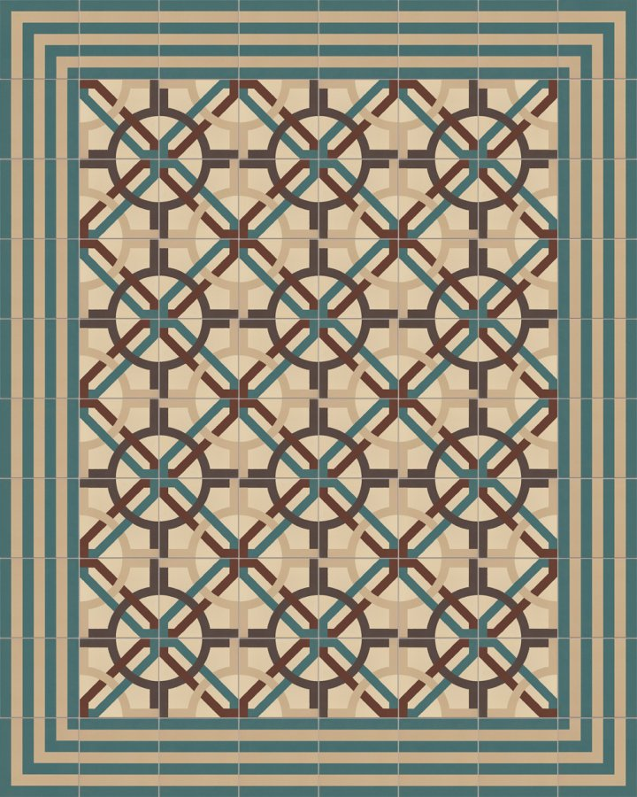 Exemple de pose de la dalle en grès SF566B. Motif géométrique incrusté beige, marron et vert.