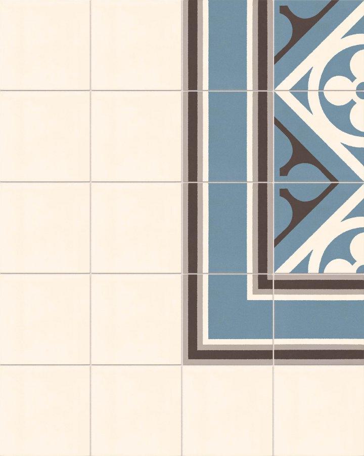 Cremeweiße Bodenfliese SF10.1 als einfarbiges Feinsteinzeug. Rand für Ornamentfliesen