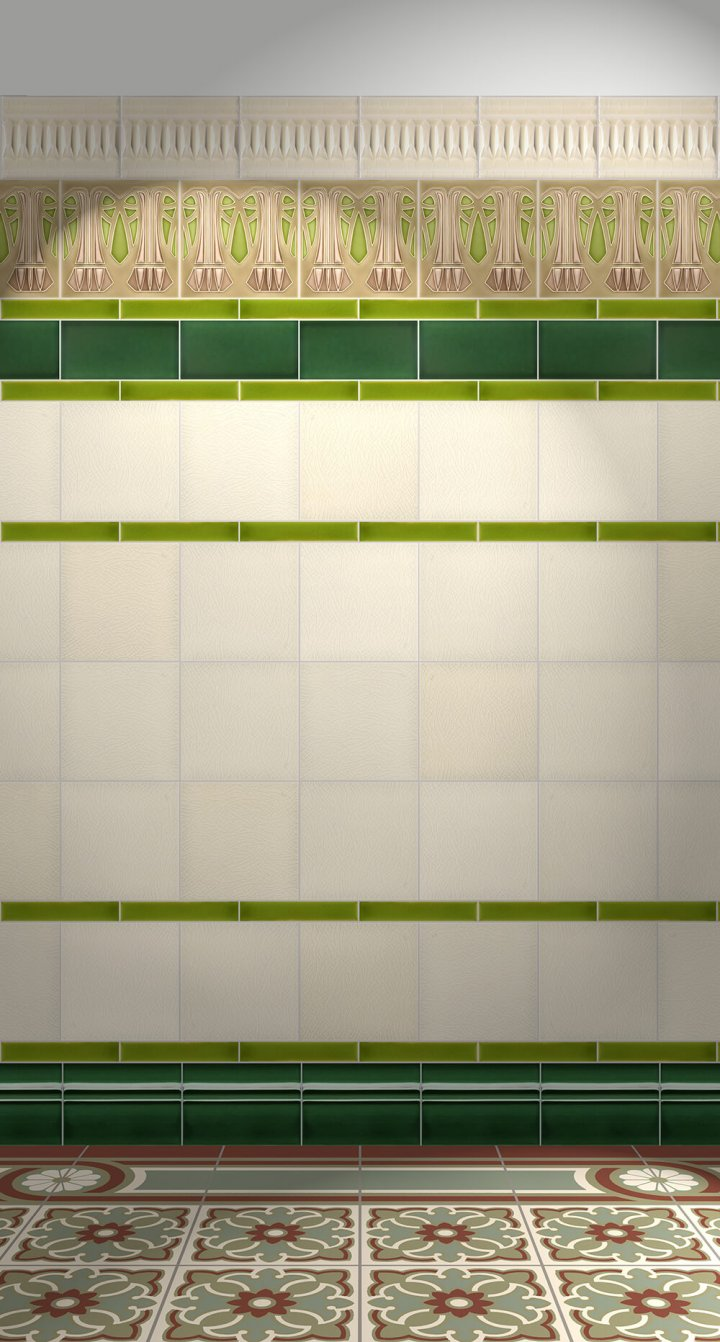 Wall tiles Tiles decorated Verlegebeispiel F 66 V2