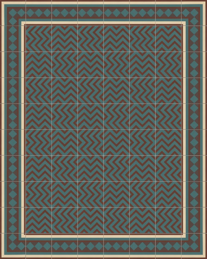 Brick brown and petrol green inlaid, modern floor tile. Zigzag stripe motif with related patterns. Laying pattern SF216B
