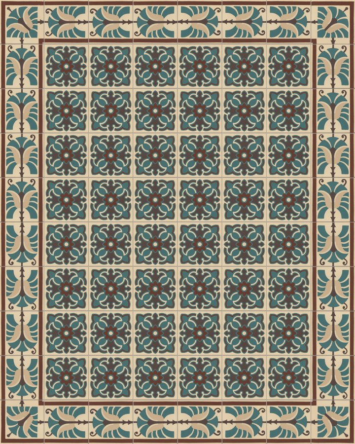 Beige, brown and green inlaid floor tile with lush floral ornament. Historical motif from the Wilhelminian era. Tile pattern SF420B