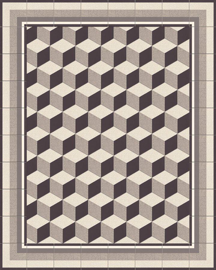 Fliesenteppich-schwarz-weiß-SFTG 11503 M +  SF 317 M-Sechseckfliese