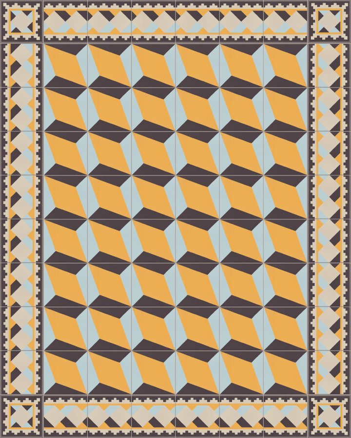 Historical stoneware pattern SF503H cube motif in brick black, gray, yellow and blue as edge tile with SF302H