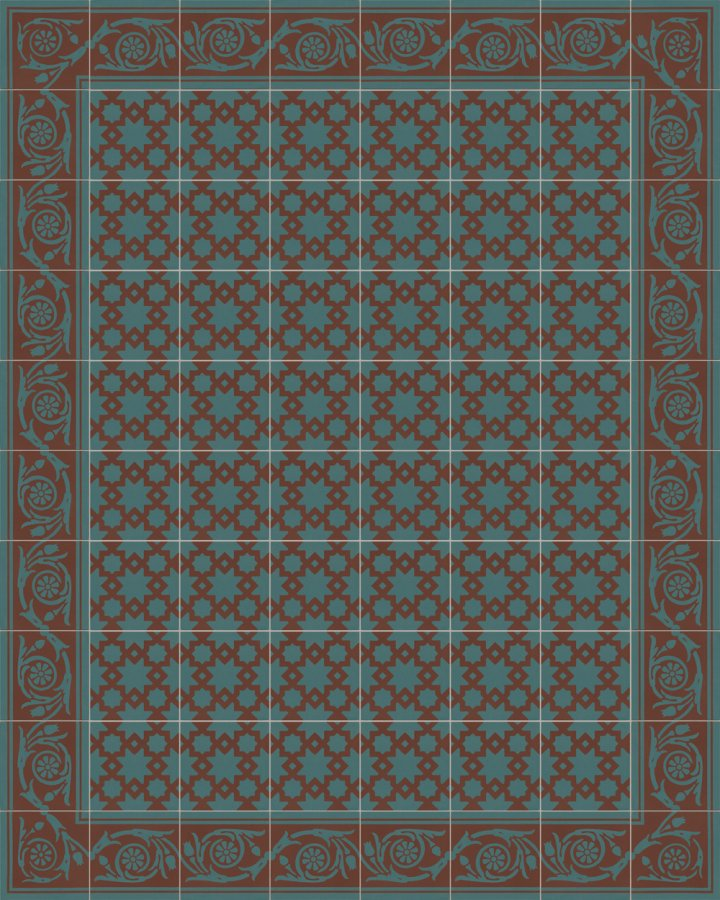 Moroccan-oriental pattern in brick brown and petrol green. Historic stoneware tile SF258B.