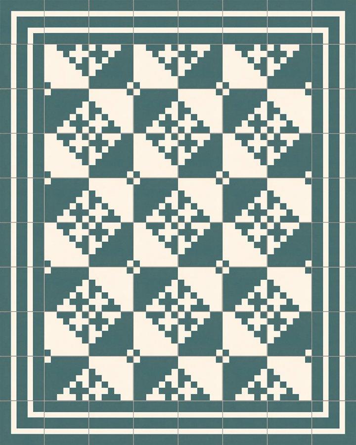 Modern pixel art motif SFTG7201Ga in green and white. Porcelain stoneware floor tile with SFTG8202G