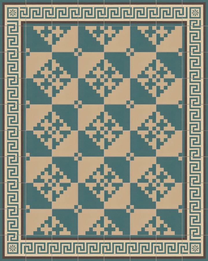 Modern pixel art motif SFTG 7201 in green and beige. Porcelain stoneware floor tile with meander edge tile.