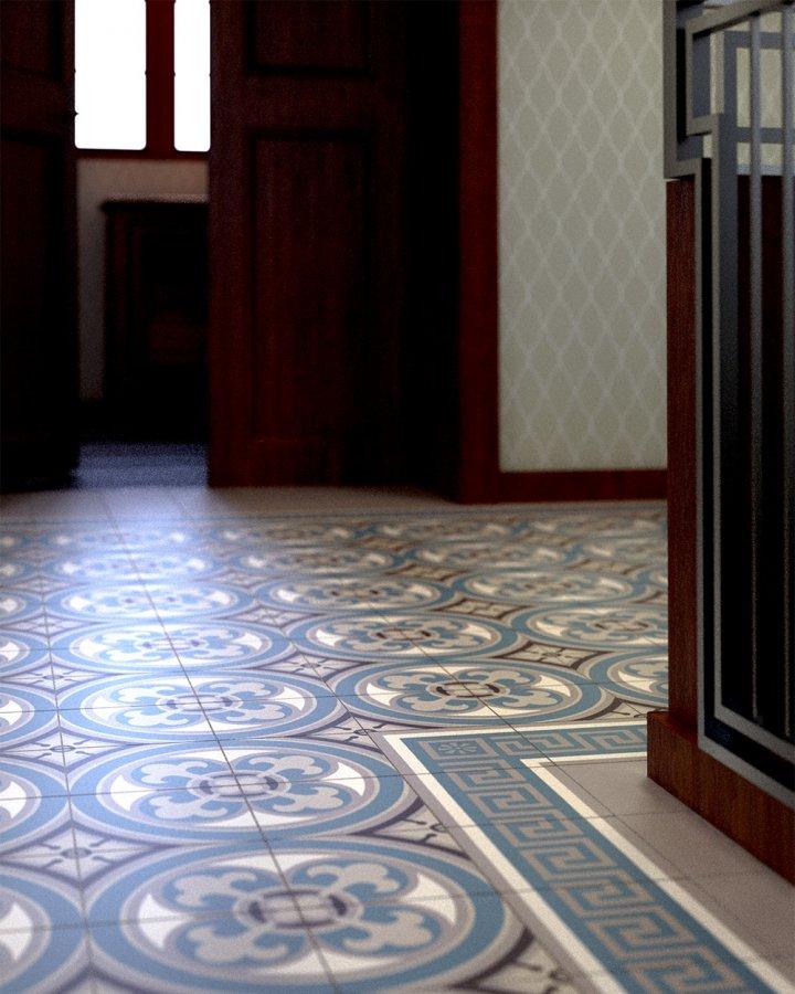 Ornamentfliese Steinzeug, blau graue Bodenfliesen mit historischem Muster im Treppenaufgang.