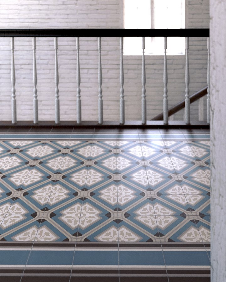 Entrance hall with old Wilhelminian style floor tiles SF556A in gray-blue and beige-gray.
