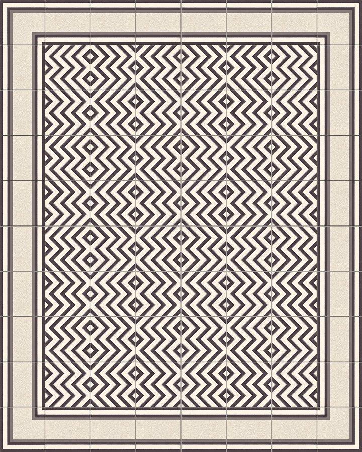 Bodenfliesen mit Zickzack Streifenmuster in schwarz-weiß. Verlegebeispiel SF216M (2).