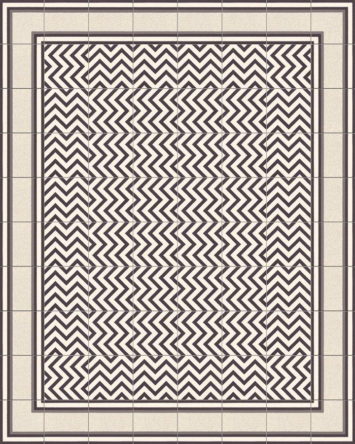 Bodenfliesen mit Zickzack Streifenmuster in schwarz-weiß. Verlegebeispiel SF216M (3).