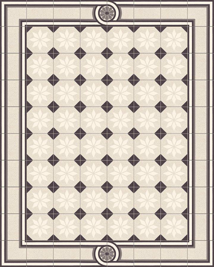 Fliesenteppich-schwarz-weiß-SF 505 M + SF 504 M1 +  SF 308 M