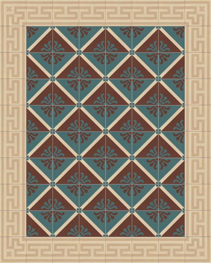 Ornamentfliese in braun und gruen Tönen intarsiert. Elegantes und historisches Lilienmotiv SF323B