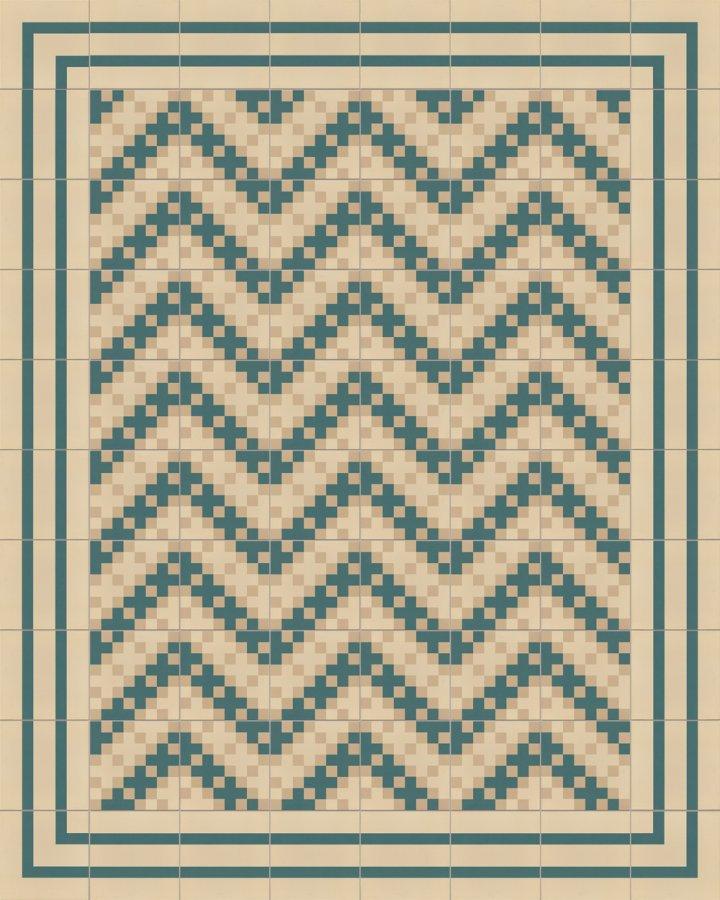 Tuile de pixel art en beige et vert pétrole. Exemple de pose SFTG8306 d'un motif carré moderne et finement divisé.