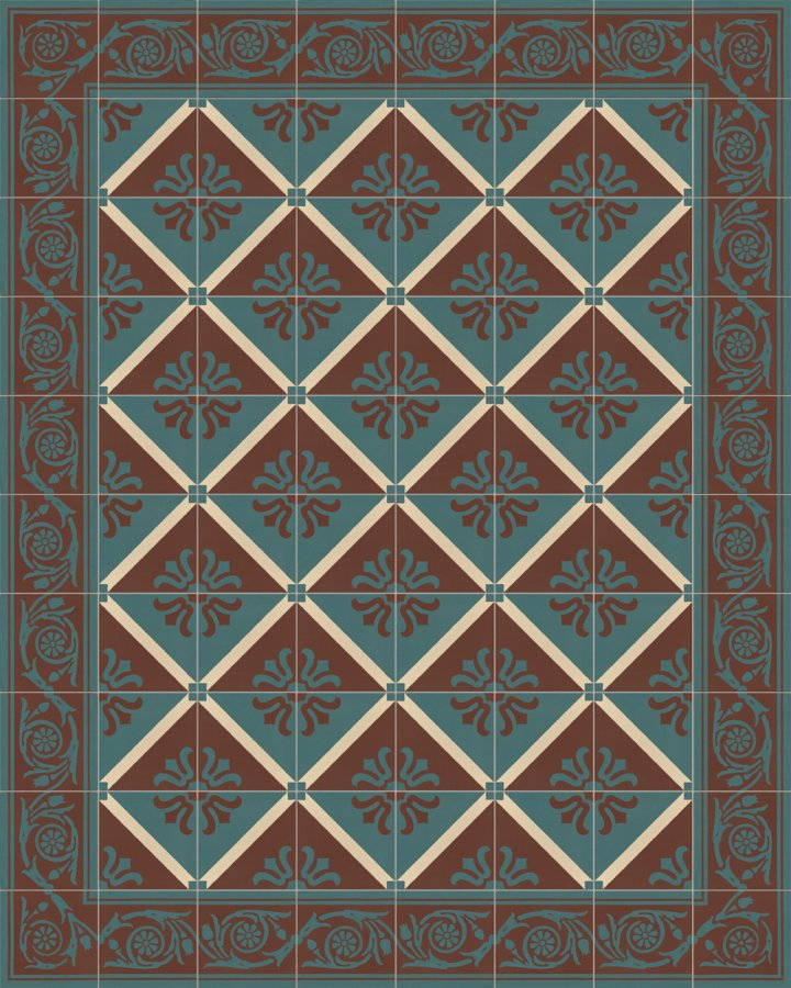 Edge tiles with a floral motif in brick brown and petrol green. Historical, subtle stoneware pattern SF208B.