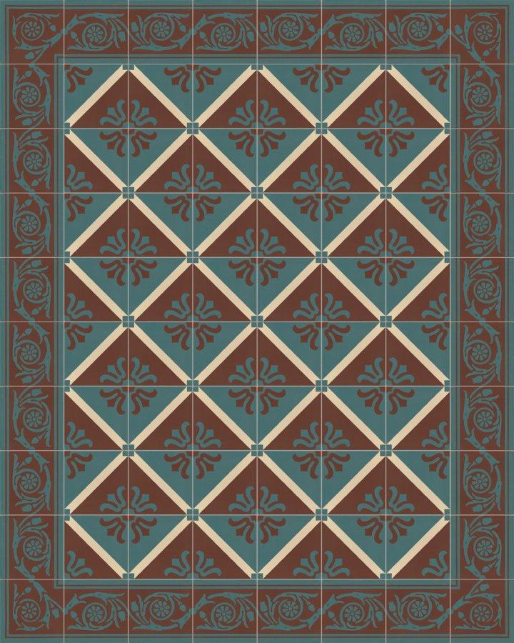 Carreaux de bordure avec un motif floral en brun brique et vert pétrole. Motif grès ancien et subtil SF208B.