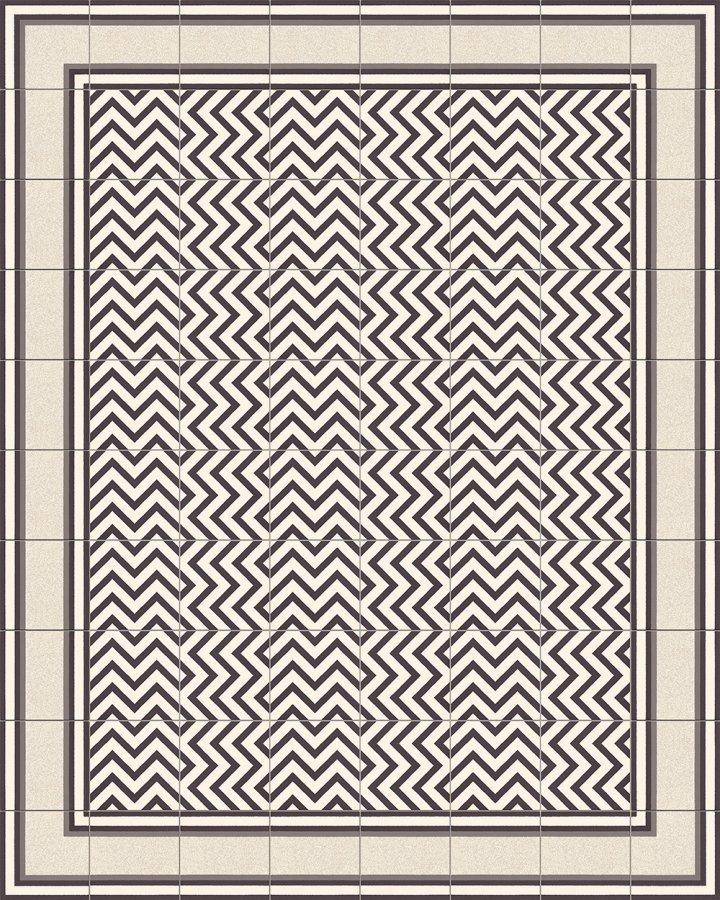 Bodenfliesen mit Zickzack Streifenmuster in schwarz-weiß. Verlegebeispiel SF216M (4).