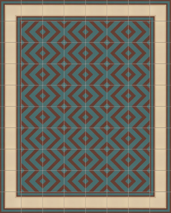 Carrelage à rayures avec un motif moderne en brun brique et vert pétrole. Exemple de pose SF215B-505