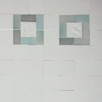Wandfliesenspiegel, Patch-Art gestaltet von Sabine Heller WSH 138 (3,6m²)
