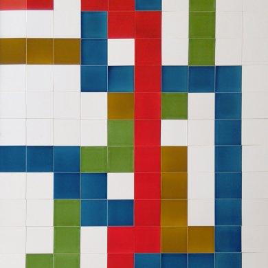 Wandfliesenspiegel, Patch-Art gestaltet von Sabine Heller WSH 175 (3,3 m²)
