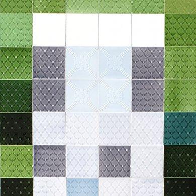 Wandfliesenspiegel, Patch-Art gestaltet von Sabine Heller  WSH 316 (1,62 m²)