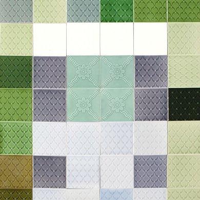 Wandfliesenspiegel, Patch-Art gestaltet von Sabine Heller  WSH 317 (1,62 m²)