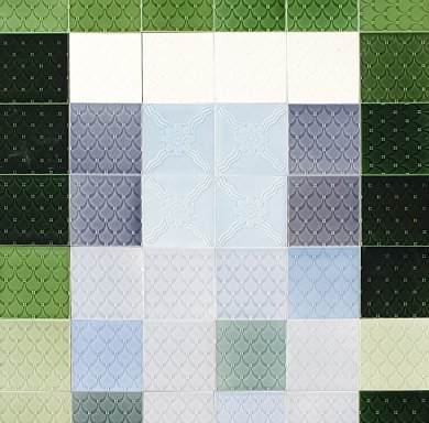 Wandfliesenspiegel, Patch-Art gestaltet von Sabine Heller  WSH 318 (1,62 m²)